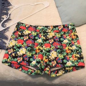 J Crew Stretch Shorts in Bright Floral Pattern